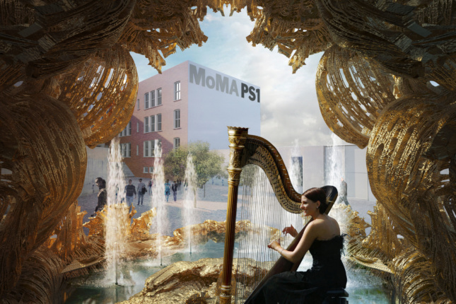 A woman playing a harp in front of MoMA PS1