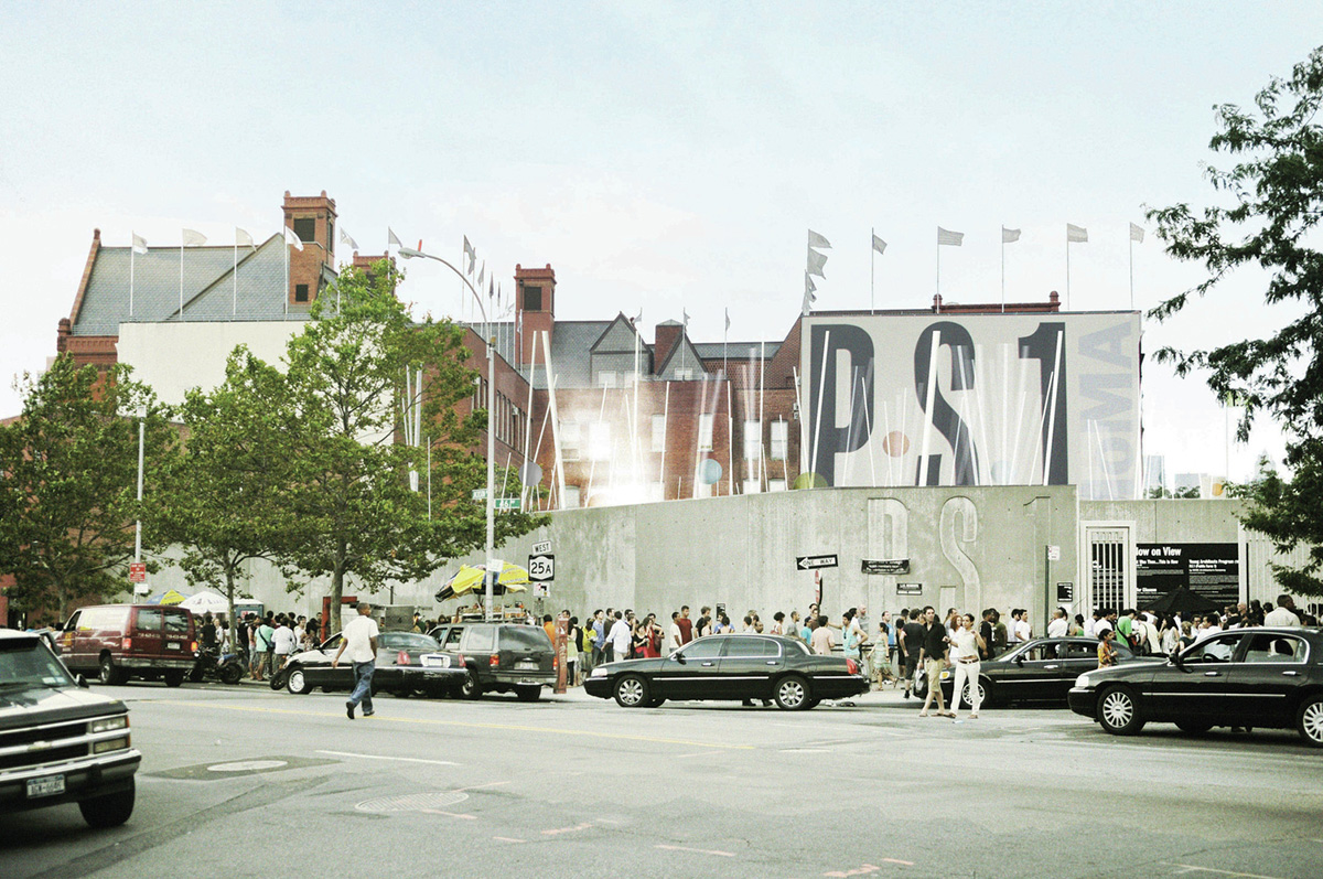 Exterior frontage of a museum with a MoMA PS1 sign out front