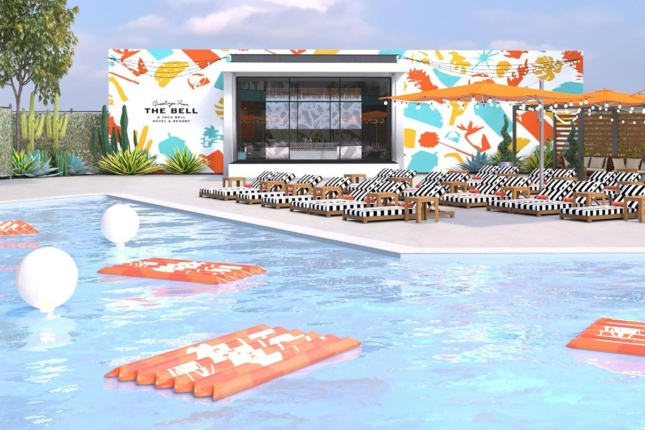 Rendering of a pool with Taco Bell motif