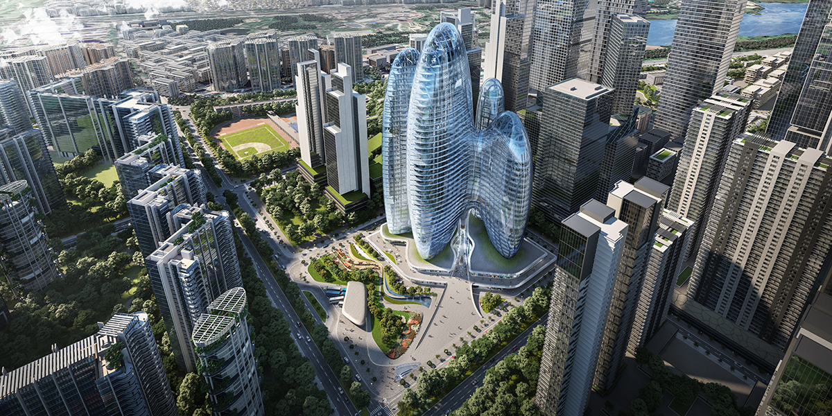 Aerial view of multi-tower development with globular design in Shenzhen for OPPO