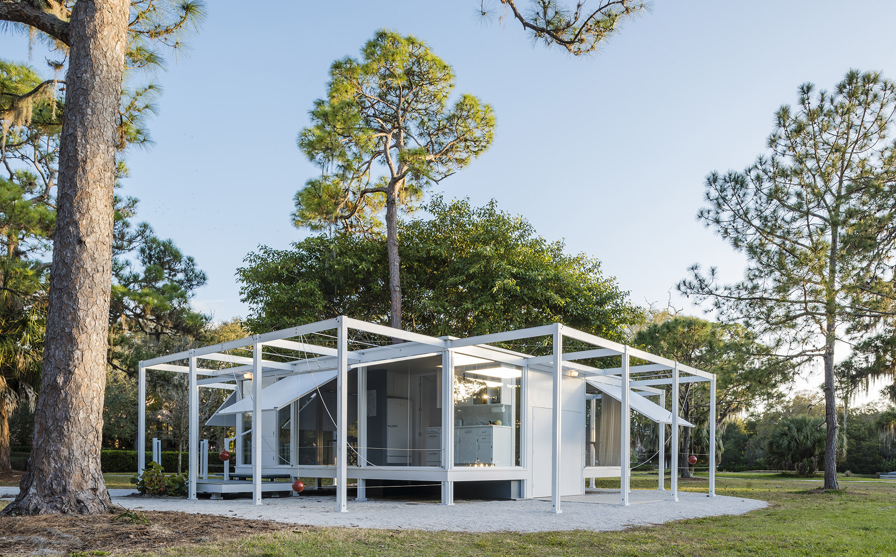 A photo of the Walker Guest House, an open-frame home with operable walls