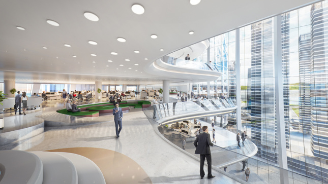 Interior rendering of the edge of a workspace and lounge with undulating facade and glass windows for OPPO