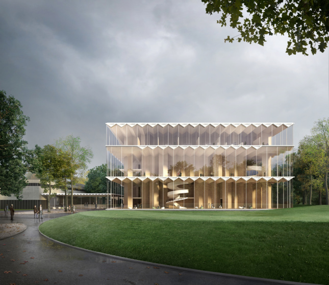 Rendering of a glass-clad timber concert hall