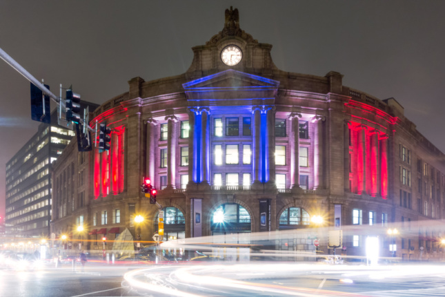 The historic South Station in Boston at night