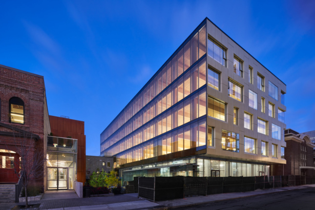 Photo of 80 Atlantic, a glass-and-timber boxy office building