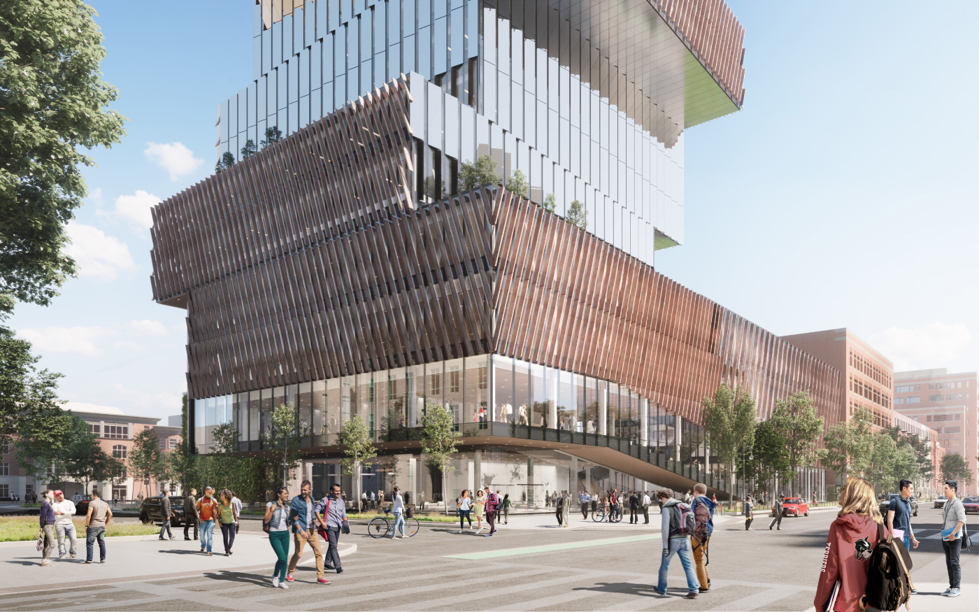 Rendering of a glassy tower with slanted louvers rising on the campus of Boston University