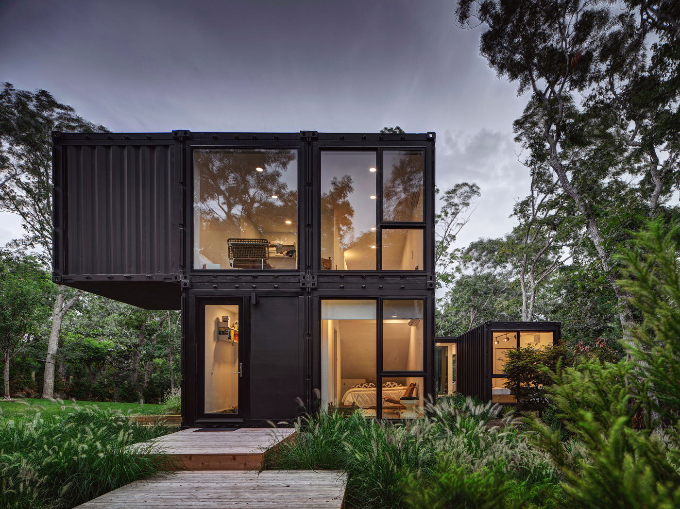 A home constructed of shipping containers