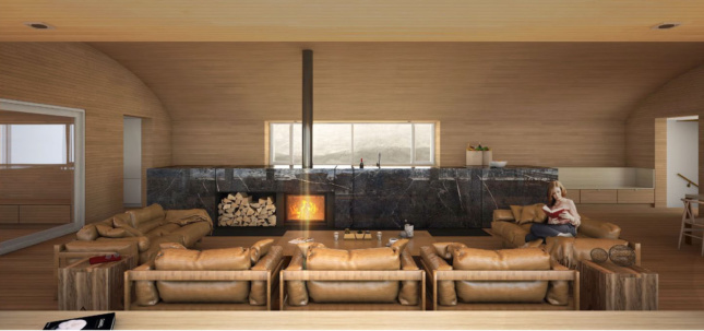 Wooden interior shot with leather couches and large fireplace
