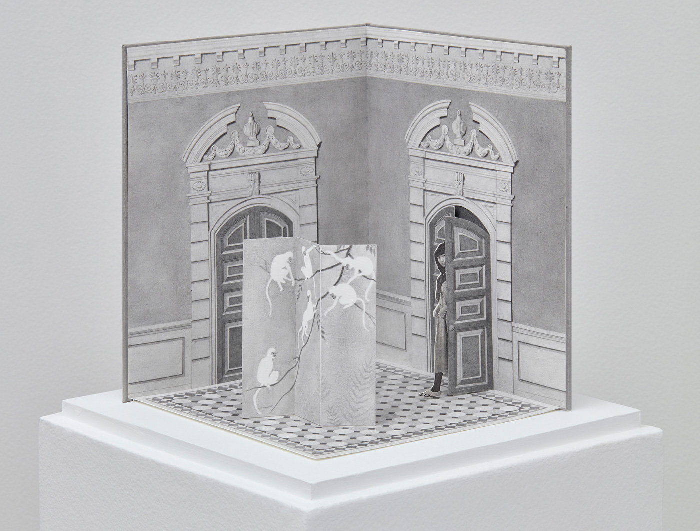 Greyscale drawing of a museum gallery with a woman loitering