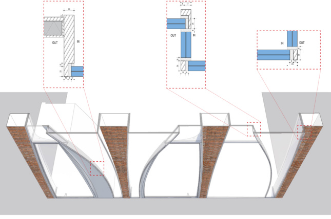 Section of the ground floor and transitions between glass panels and metal framing