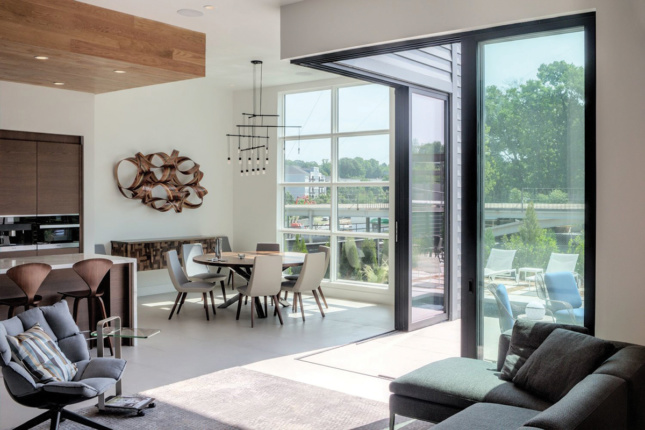 Interior shot of living space with floor-to-ceiling sliding doors