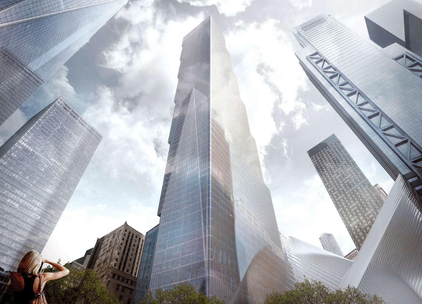 Rendering of a boxy glass tower at 2 world trade center