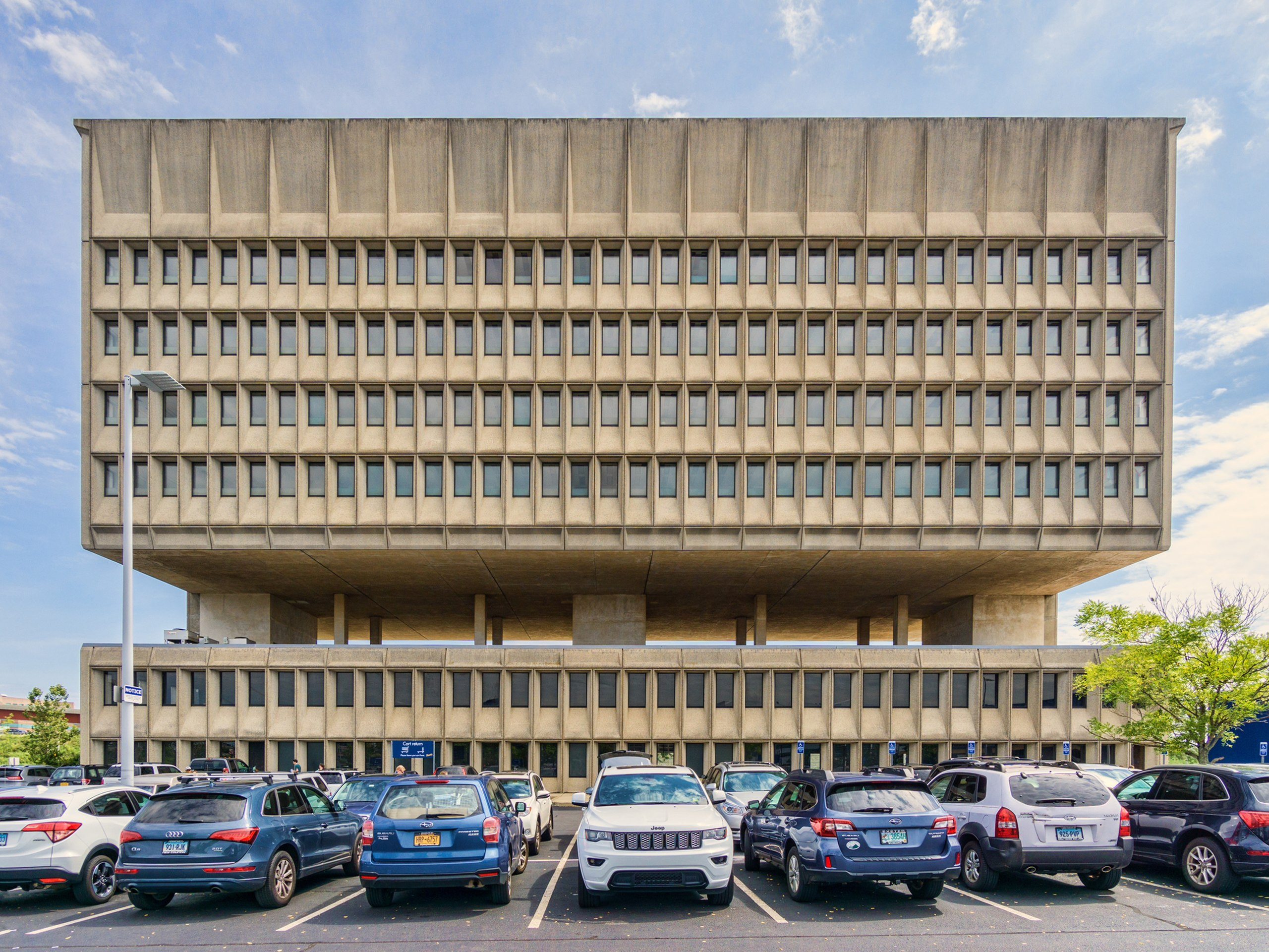The Pirelli Tire Building, a concrete combed building with two hemispheres
