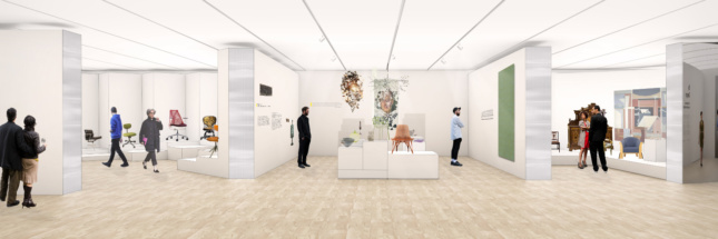Interior rendering of a triptych design gallery