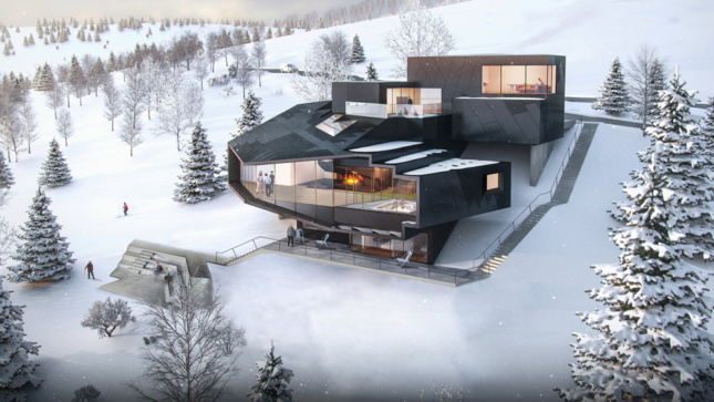 Building rendering atop a snowy mountain