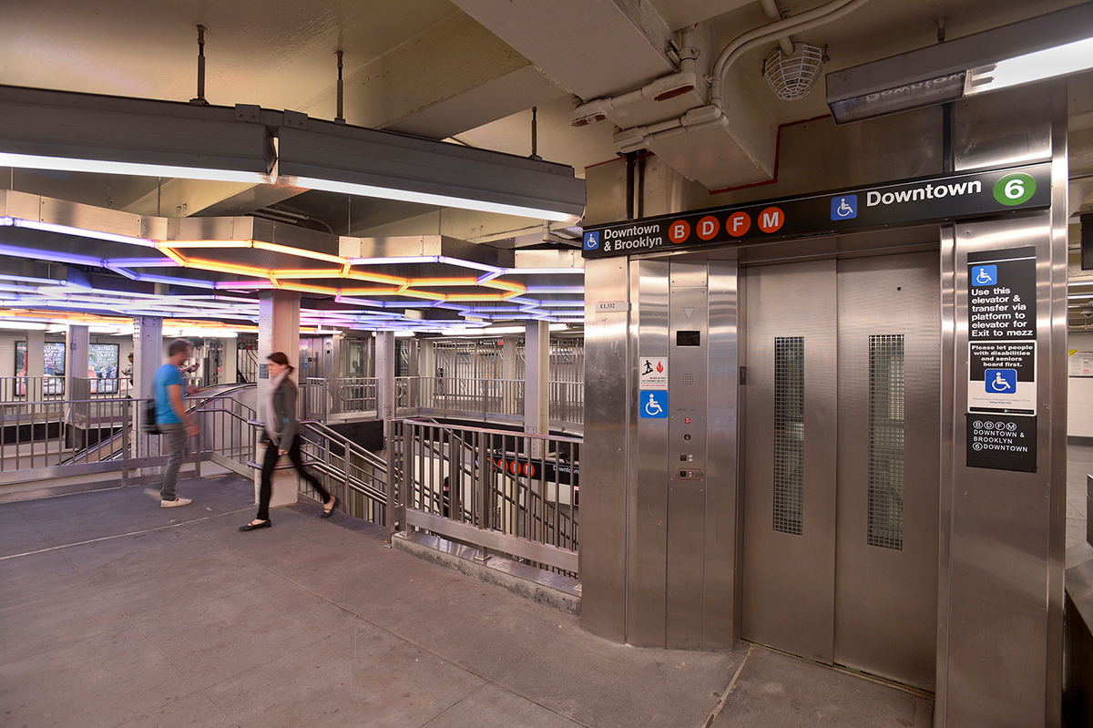 Photo of subway station stairs and elevator