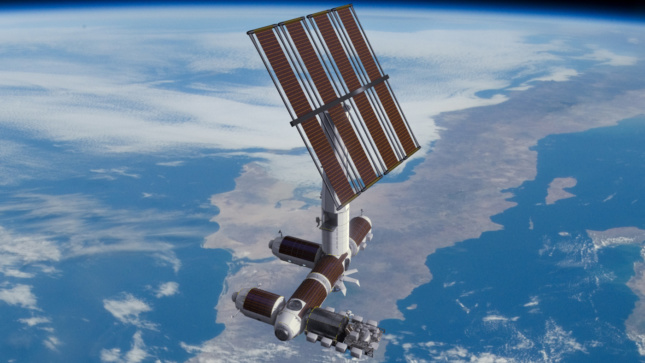 Rendering of a space station