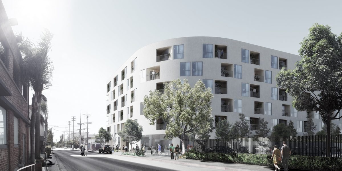 Rendering of a low-slung, curved residential building