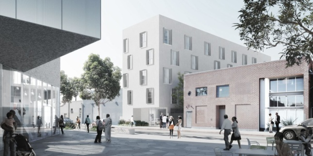 Rendering of a white, boxy building with extruding window frames