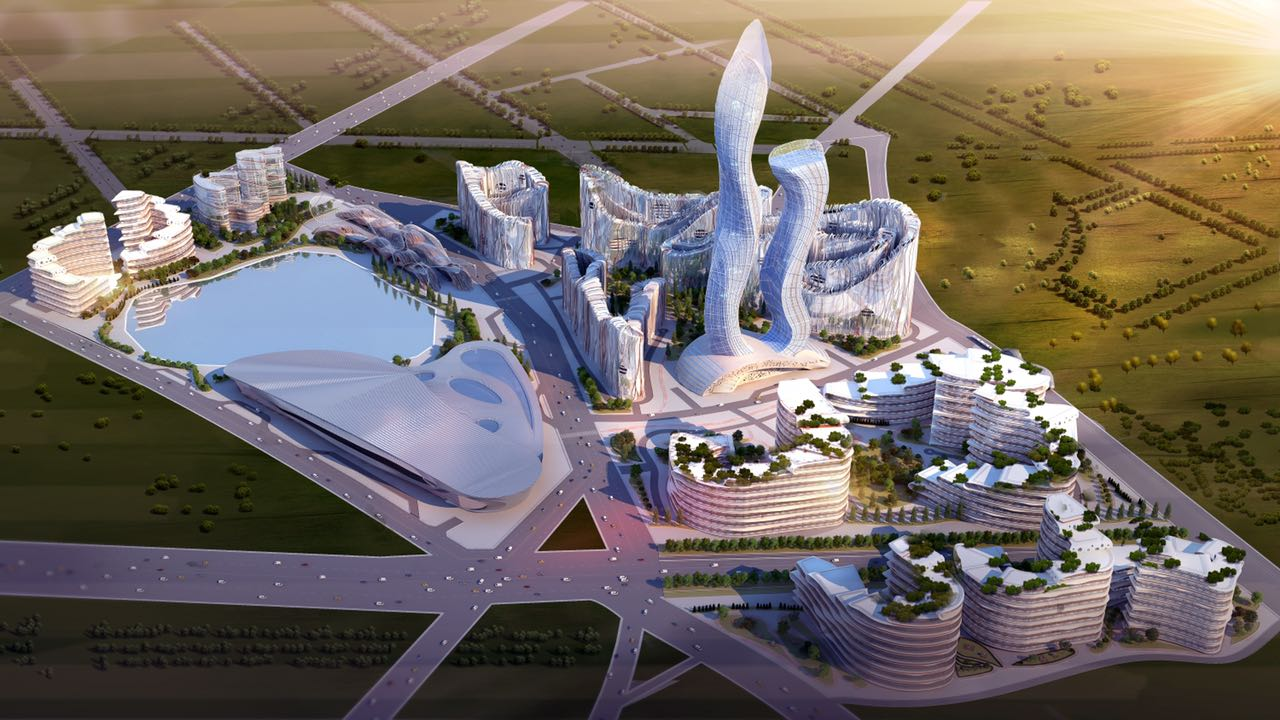Aerial rendering of a smart city centered by two towers