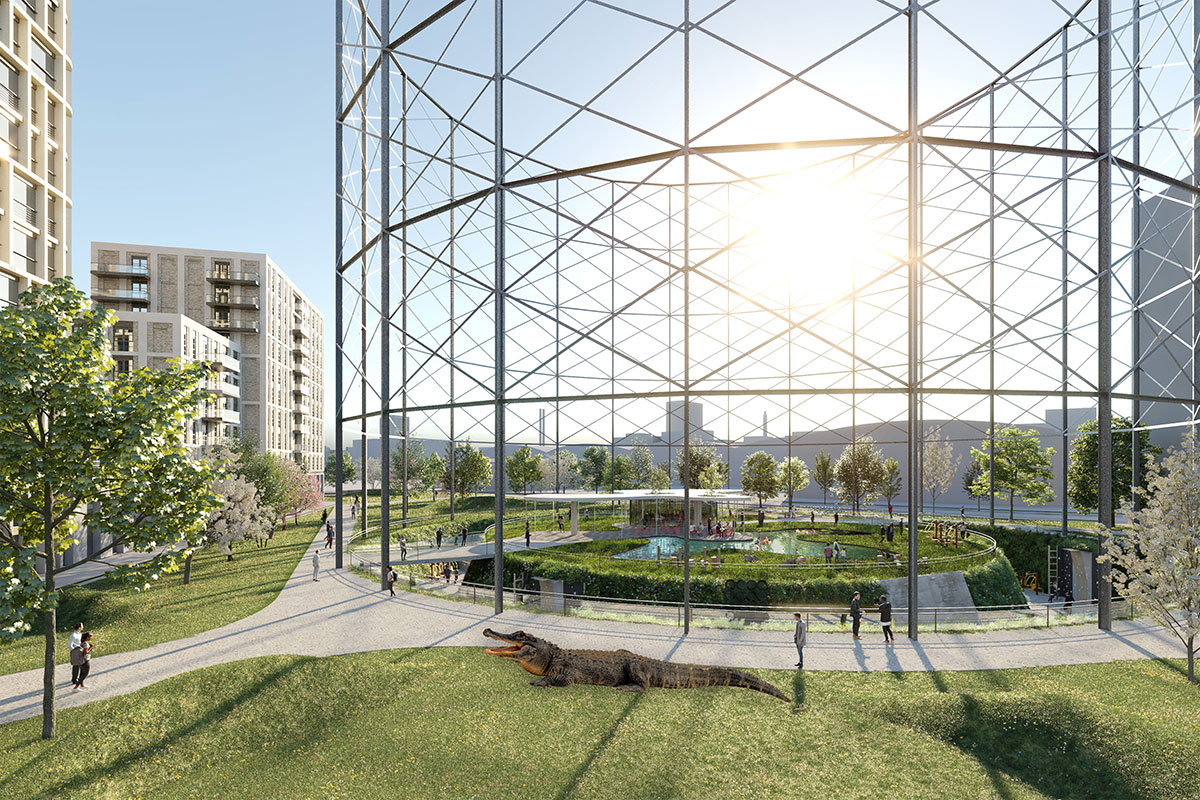 Rendering of glass-enclosed gasholder containing habitat for alligators