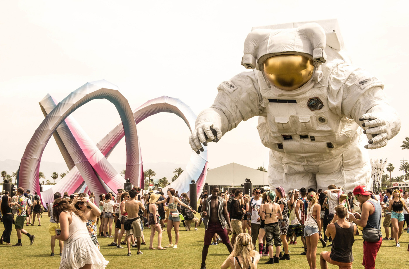 A giant inflatable astronaut at Coachella