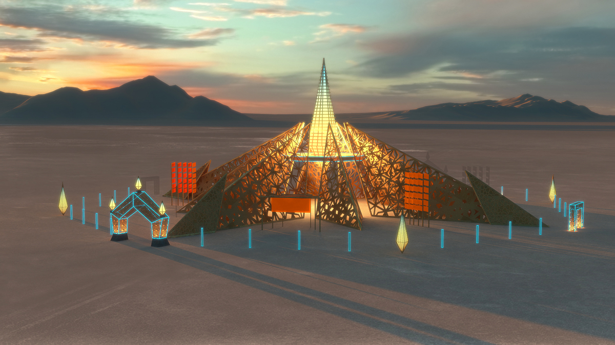 A render of a pointed temple in a desert with wooden canopies that feature cutaway patterns.