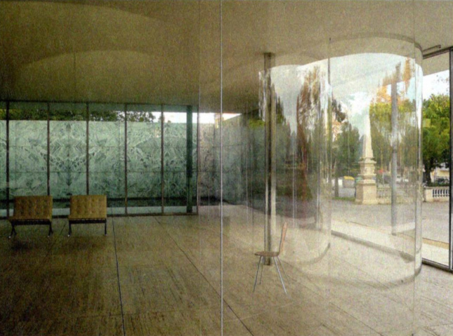 Photograph of curved clear walls