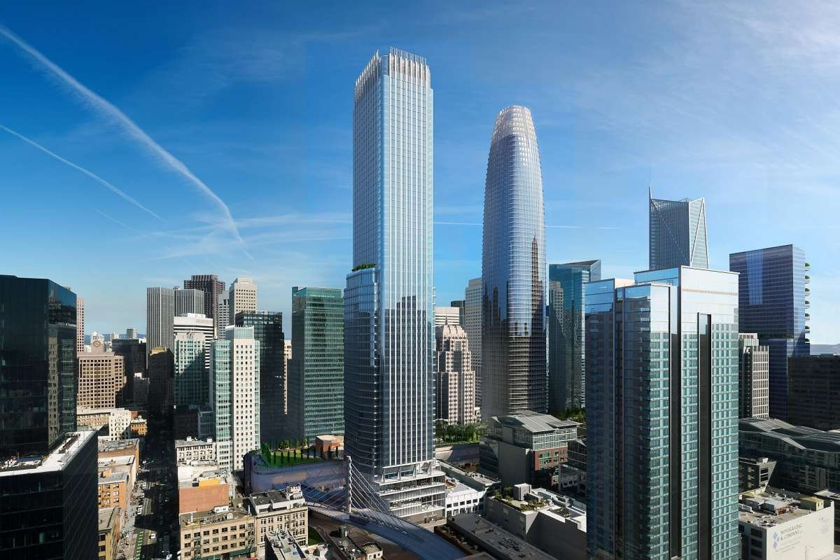 Rendering of a boxy tower on the San Francisco skyline