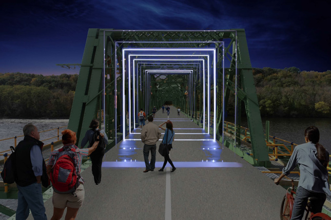 Rendering of a bridge with square lights