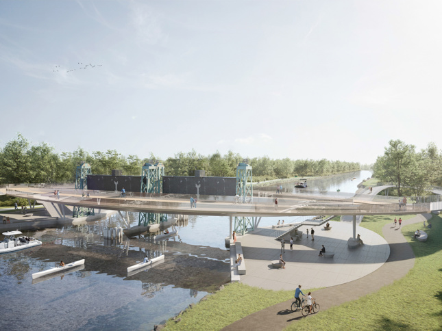 Aerial rendering of cycling and walking bridge across canal