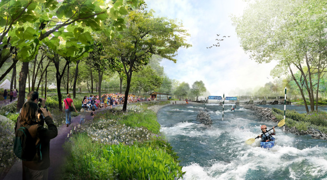 Rendering of kayakers going down white rapids in canal