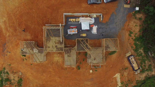 Aerial photo of a construction site