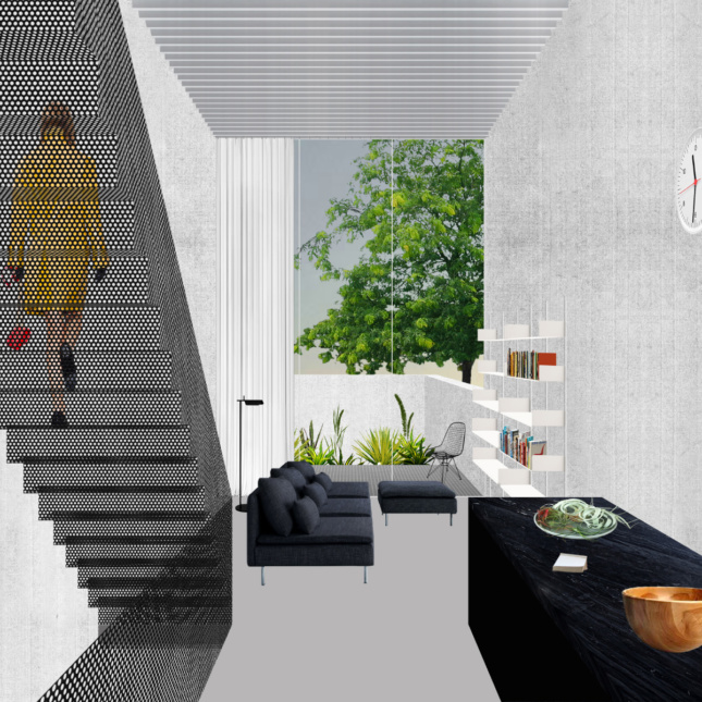 Interior rendering of a narrow staircase