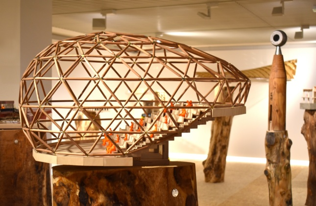 Model of a timber done covering amphitheater seating