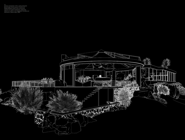 Black-and-white drawing of a modern beach house