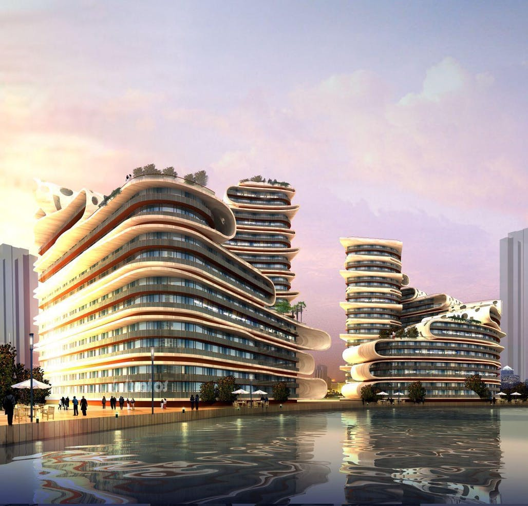 Rendering of L-shaped apartment complexes