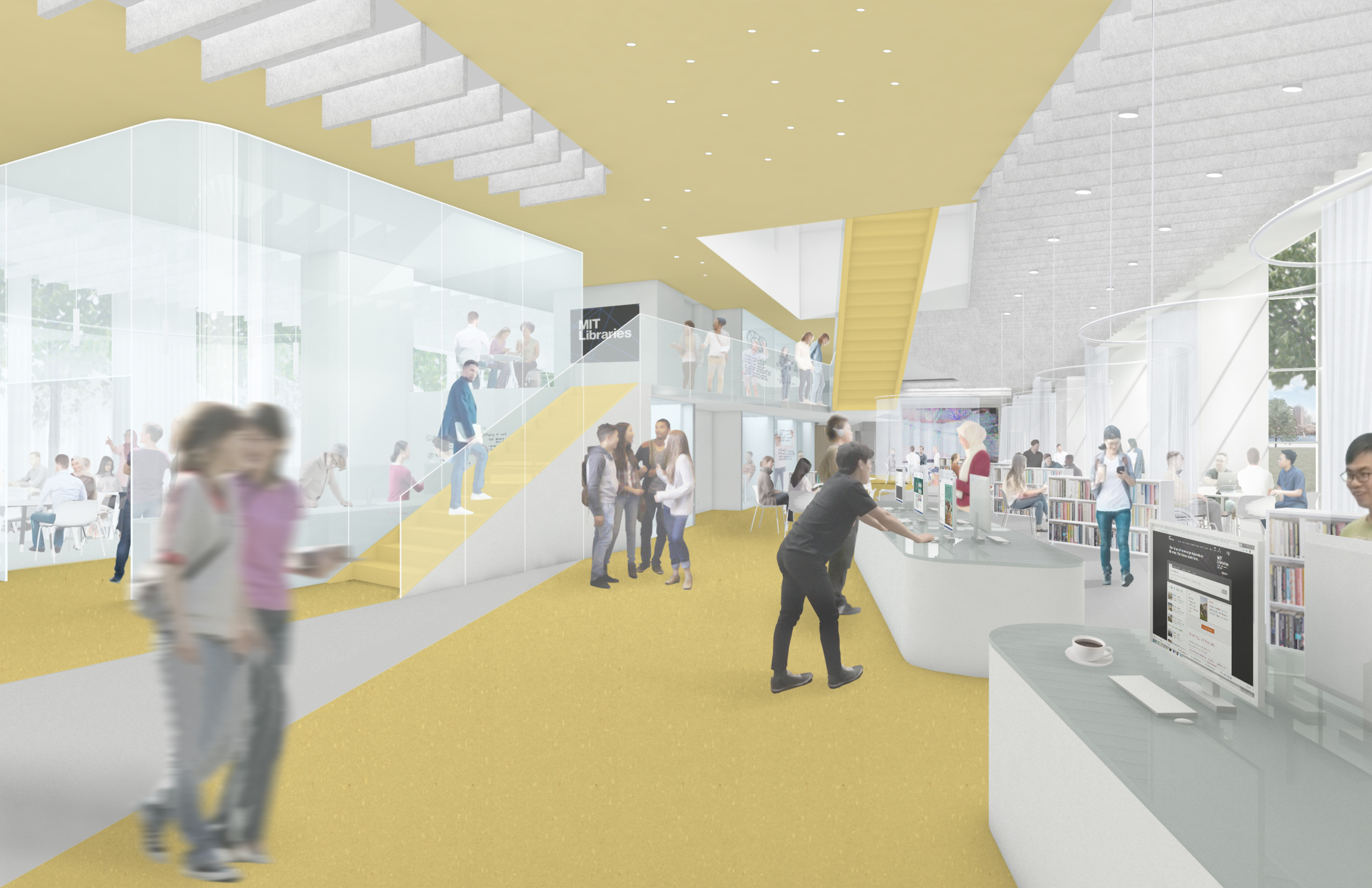 Interior rendering of a yellow library space