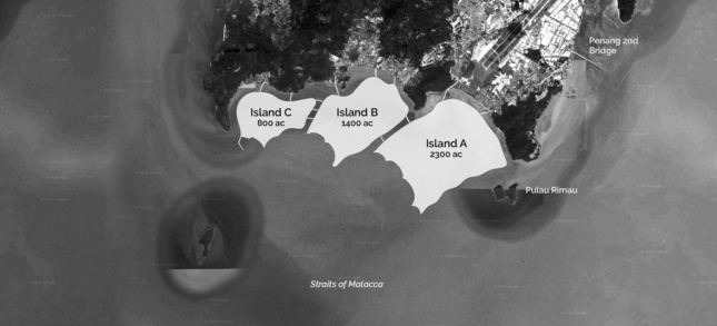 Black and white screen capture of Penang Island and outline of future islands