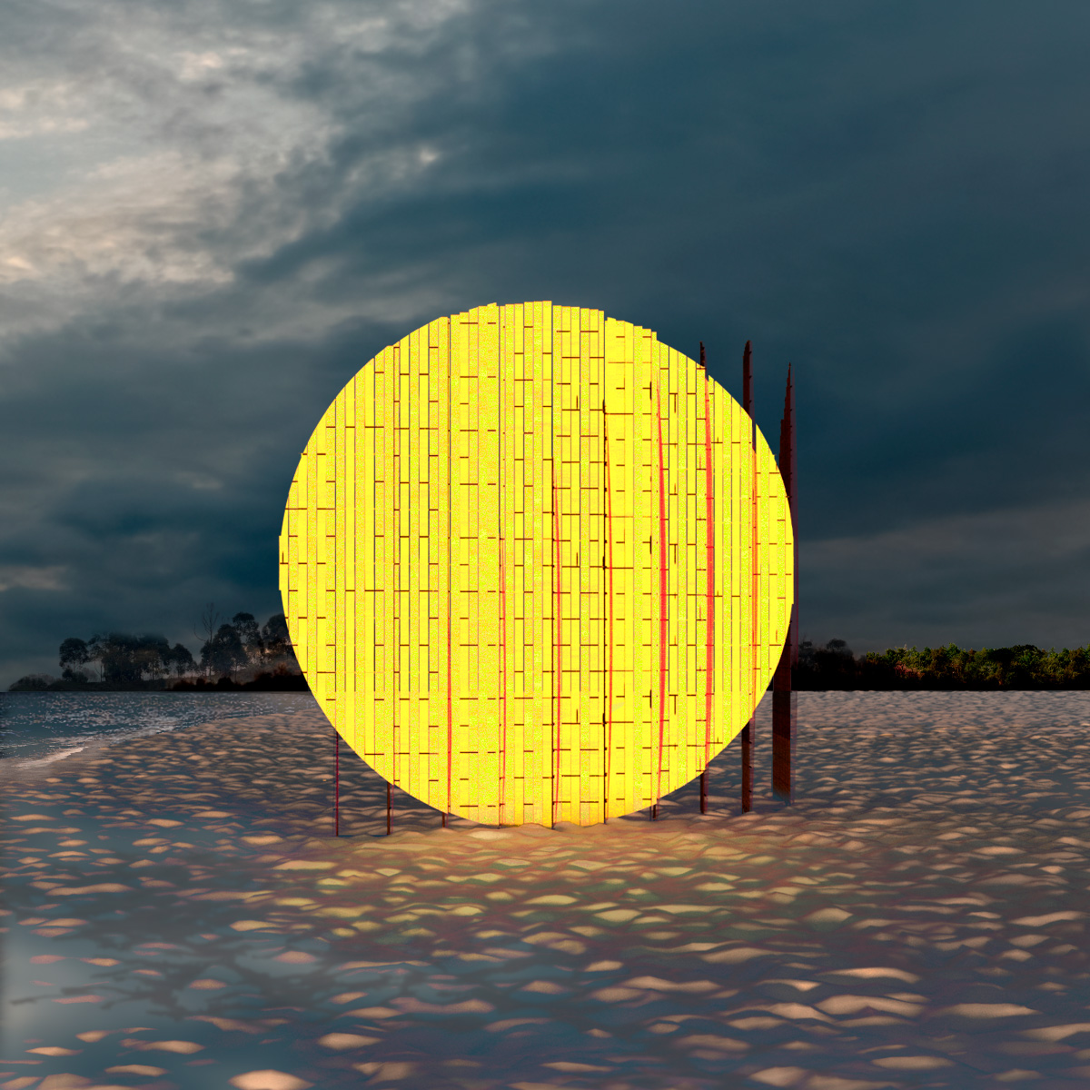 A large yellow circle on the beach for Winter Stations