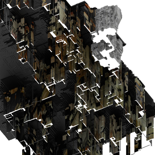 Rendering of cascading rooms built from timber