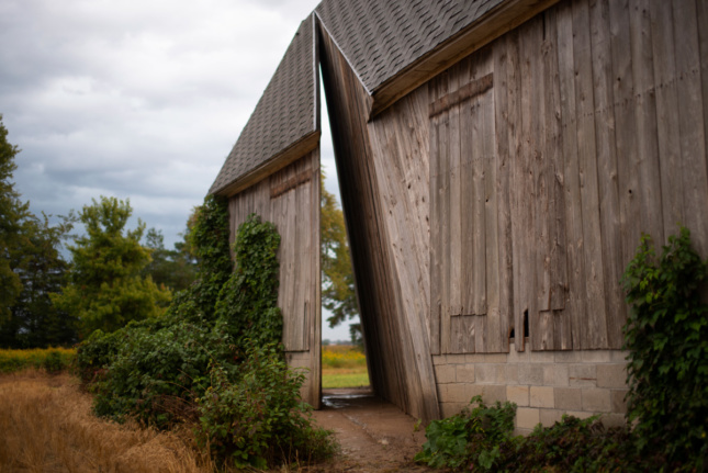 A timber barn with a sliver removed