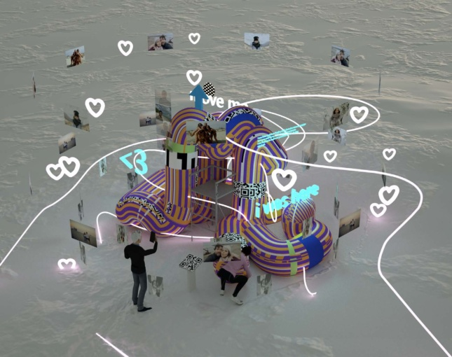 Rendering of a pavilion composed entirely of foam noodles