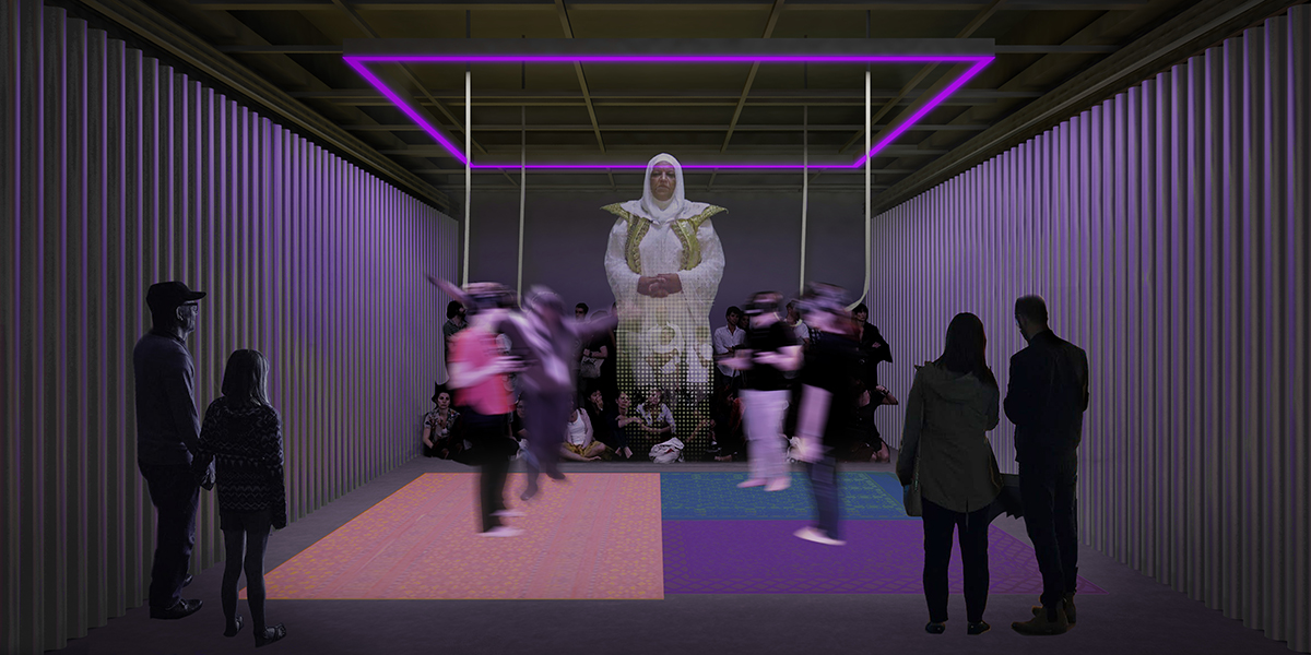 A render of an enclosed space with people with VR headsets and a hologram-like figure in the center.