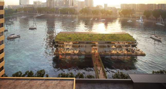 Rendering of three-story timber building accessible by bridge with green roof and solar panels