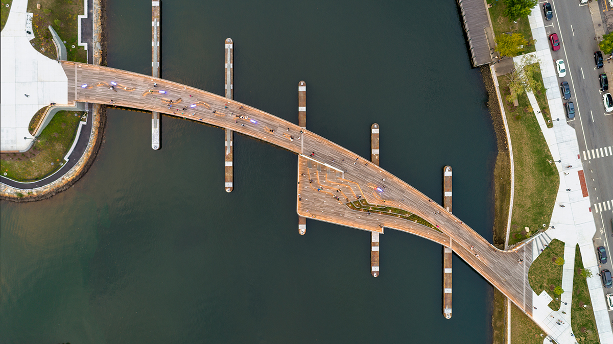 Bird's-eye view of the timber bridge set upon granite piers across the Providence River