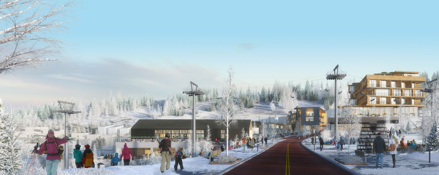 Snowy ski mountain with building renderings and skiers.