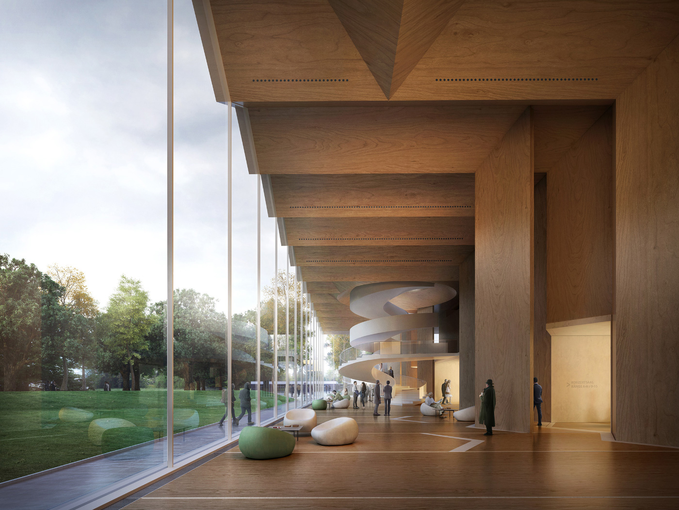 Rendering of a timber concert hall with undulating ceiling
