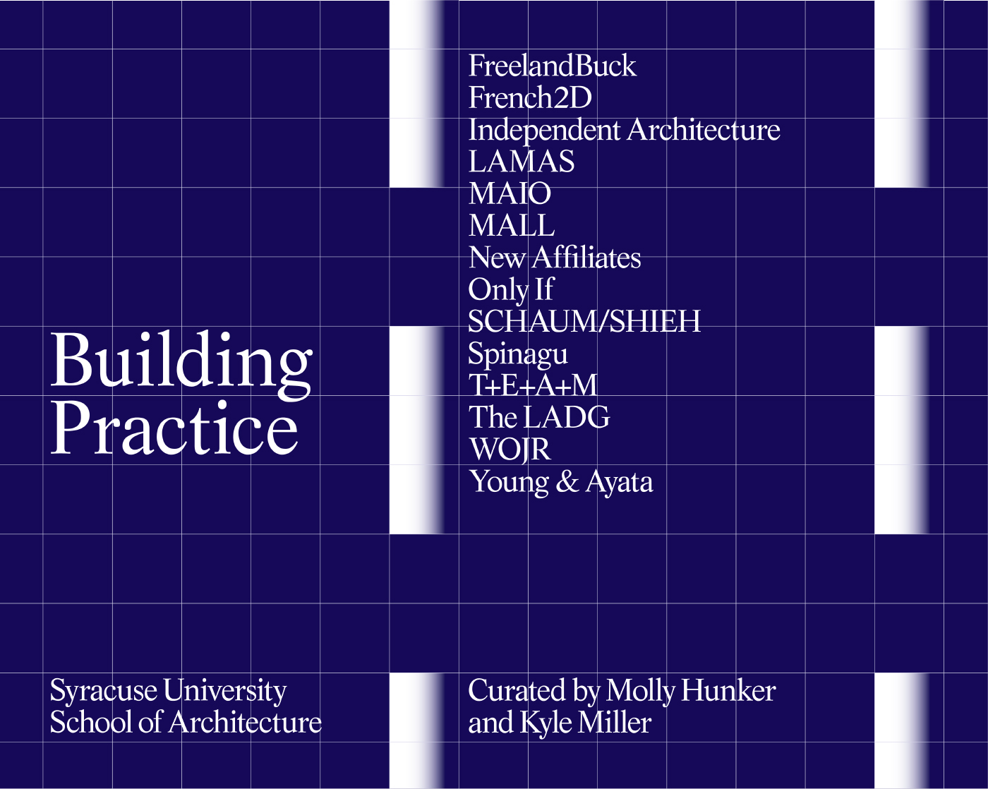 A poster that says Building Practice on a blue background