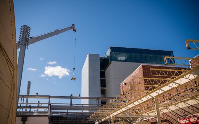 Exterior photo of the Momentary museum against scaffolding